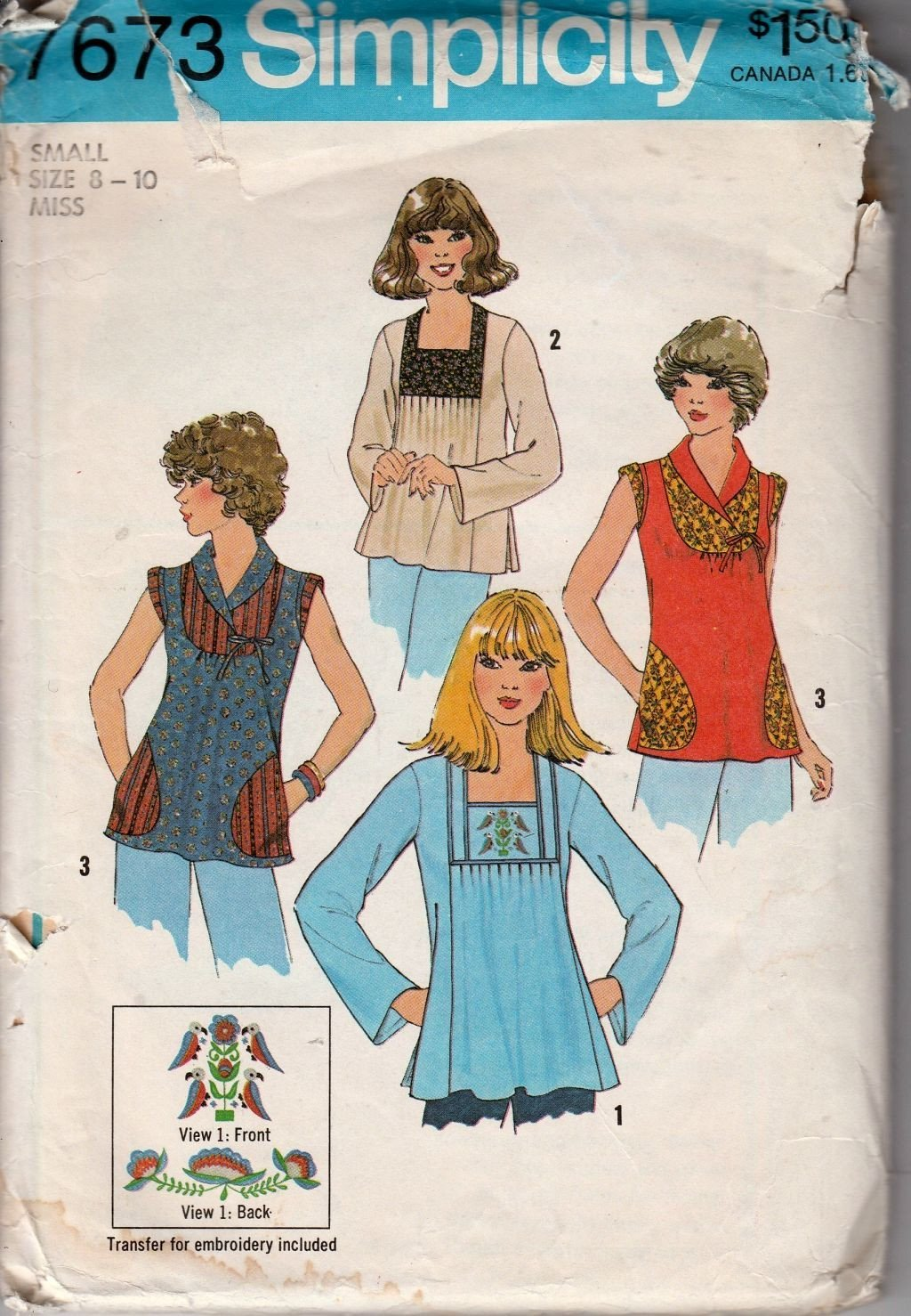 Simplicity 7673 Vintage 1970's Sewing Pattern Ladies Pullover Pleated Top - VintageStitching - Vintage Sewing Patterns