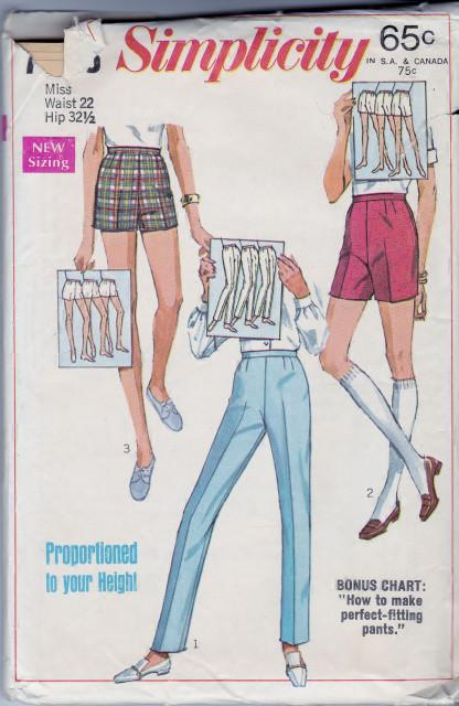 Simplicity 7688 Ladies Pants Jamacia Shorts Vintage 1960's Pattern - VintageStitching - Vintage Sewing Patterns