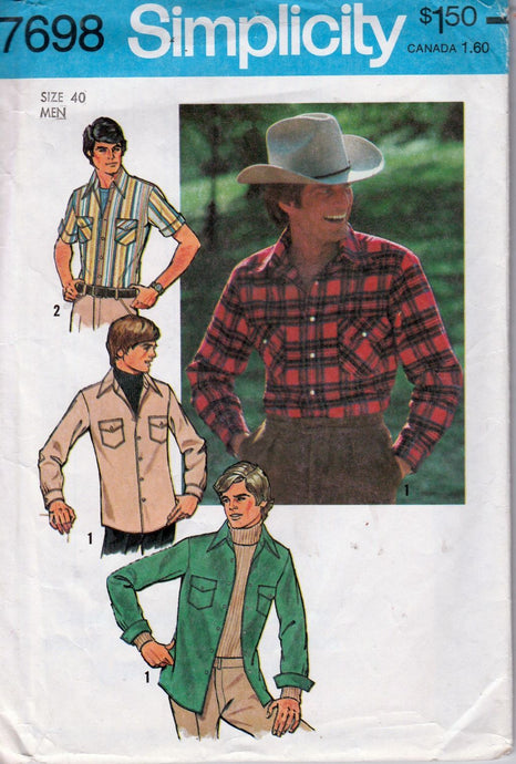 Simplicity 7698 Mens' Shirt Vintage 1970's Sewing Pattern - VintageStitching - Vintage Sewing Patterns