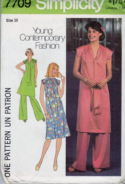 Simplicity 7709 Ladies Flowing Dress Tunic Pants Vintage 70's Pattern - VintageStitching - Vintage Sewing Patterns