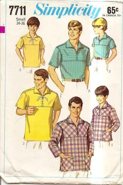 Simplicity 7711 Vintage 1960's Sewing Pattern Men's Pullover Shirt - VintageStitching - Vintage Sewing Patterns