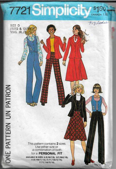 Simplicity 7721 Teen Jacket Skirt Pants Vest Vintage Sewing Pattern 1970s - VintageStitching - Vintage Sewing Patterns
