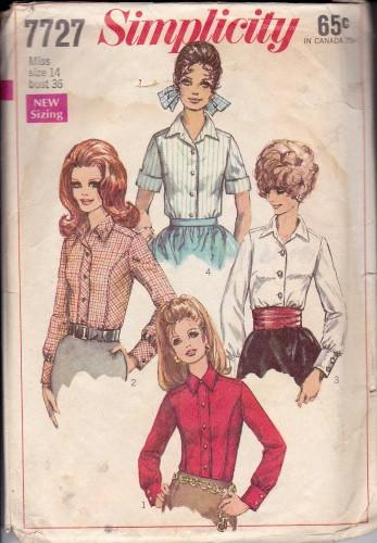Simplicity 7727 Ladies Blouse Vintage Sewing Pattern 1960's - VintageStitching - Vintage Sewing Patterns