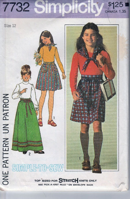 Simplicity 7732 Vintage 1970's Sewing Pattern Girls Long Above Knee Skirt Top Scarf - VintageStitching - Vintage Sewing Patterns