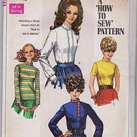 Simplicity 7734 Young Junior Teen Blouse Vintage 1960's Sewing Pattern - VintageStitching - Vintage Sewing Patterns