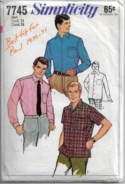 Simplicity 7745 Mens Shirt Vintage Sewing Patterns 1960s size 14 - VintageStitching - Vintage Sewing Patterns