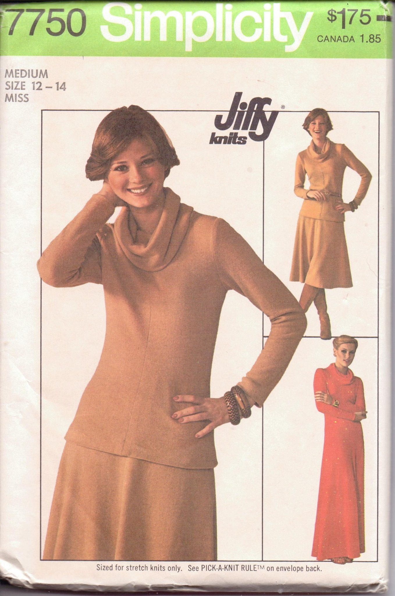 Simplicity 7750 Ladies Pullover Dress Top Skirt Vintage 1970's Sewing Pattern - VintageStitching - Vintage Sewing Patterns