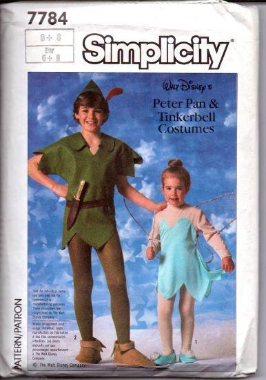 Simplicity 7784 Children Peter Pan Tinkerbell Costume Pattern Disney - VintageStitching - Vintage Sewing Patterns