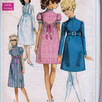 Simplicity 7792 Ladies Dress Empire Waist Mini Midi Vintage 1960's Sewing Pattern - VintageStitching - Vintage Sewing Patterns