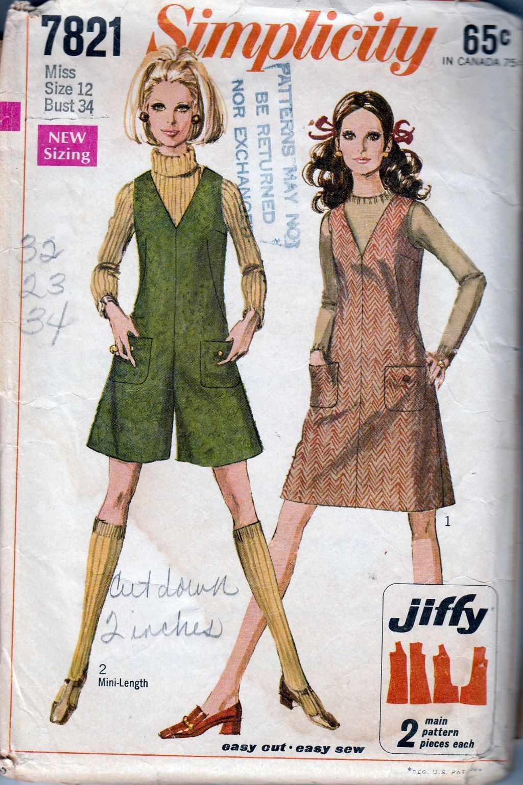 Simplicity 7821 Ladies Jiffy Jumper Dress Mini Pant Jumper Vintage 1960's Pattern - VintageStitching - Vintage Sewing Patterns