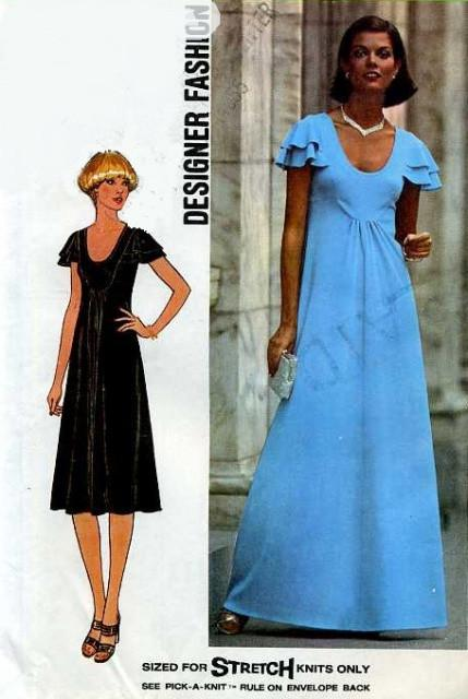 Simplicity 7836 Ladies Long or Short Dress Vintage Sewing Pattern - VintageStitching - Vintage Sewing Patterns