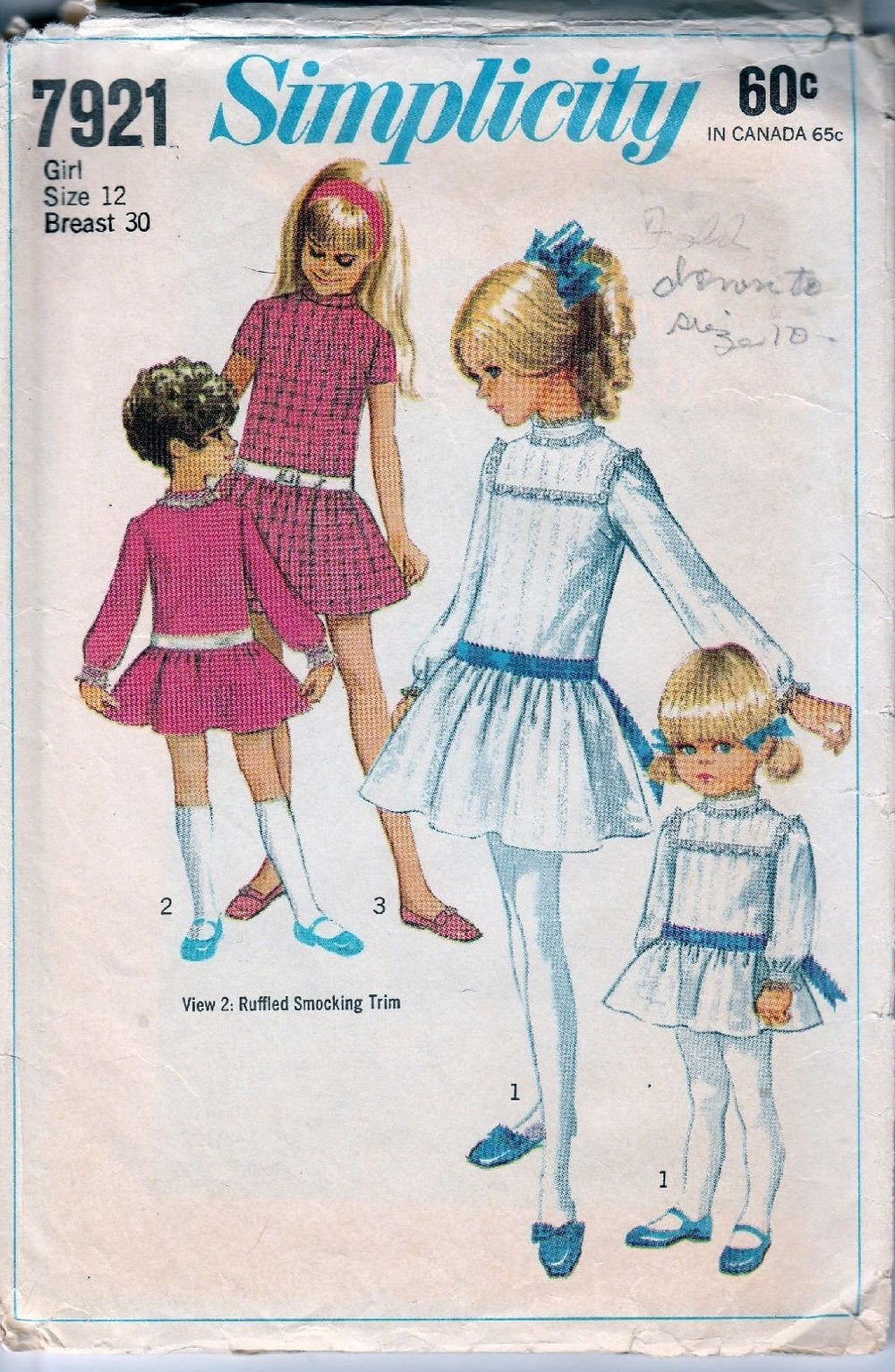 Simplicity 7921 Vintage 1960's Sewing Pattern Girls Dress Drop Waist Ribbon Belt - VintageStitching - Vintage Sewing Patterns