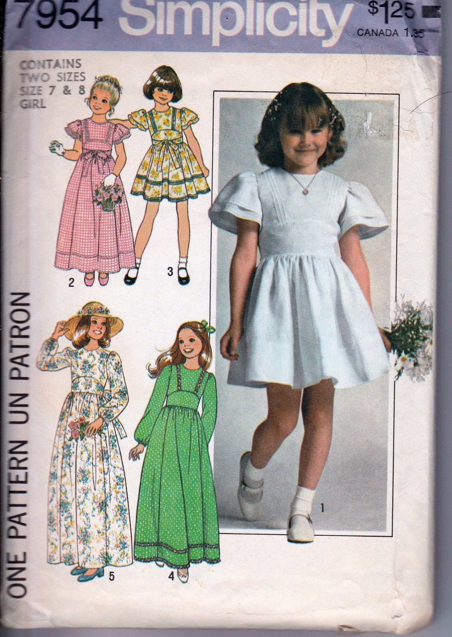 Simplicity 7954 Vintage 1970's Sewing Pattern Girls Easter Flower Girl First Communion Dress - VintageStitching - Vintage Sewing Patterns