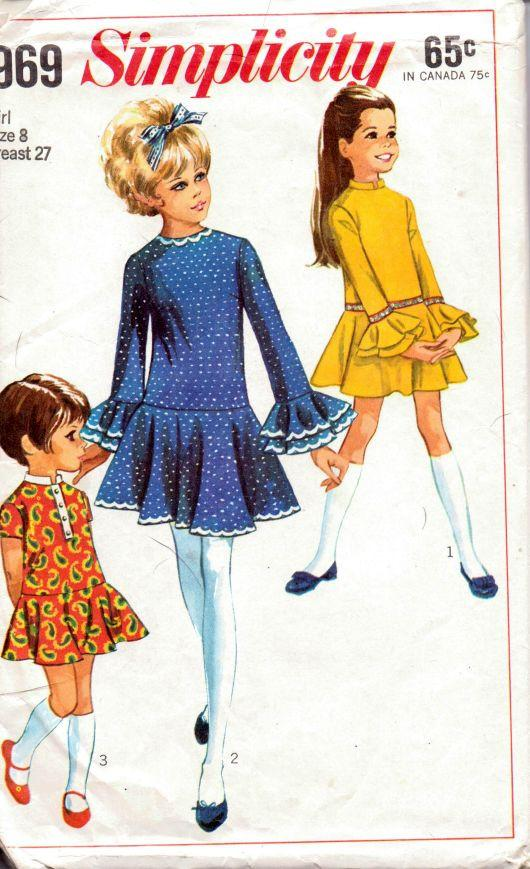 Simplicity 7969 Vintage 1960's Sewing Pattern Little Girls Dress Ruffled Cuffs Flared Skirt - VintageStitching - Vintage Sewing Patterns