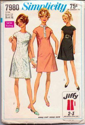 Simplicity 7980 Misses One Piece Jiffy Dress Vintage Sewing Pattern - VintageStitching - Vintage Sewing Patterns