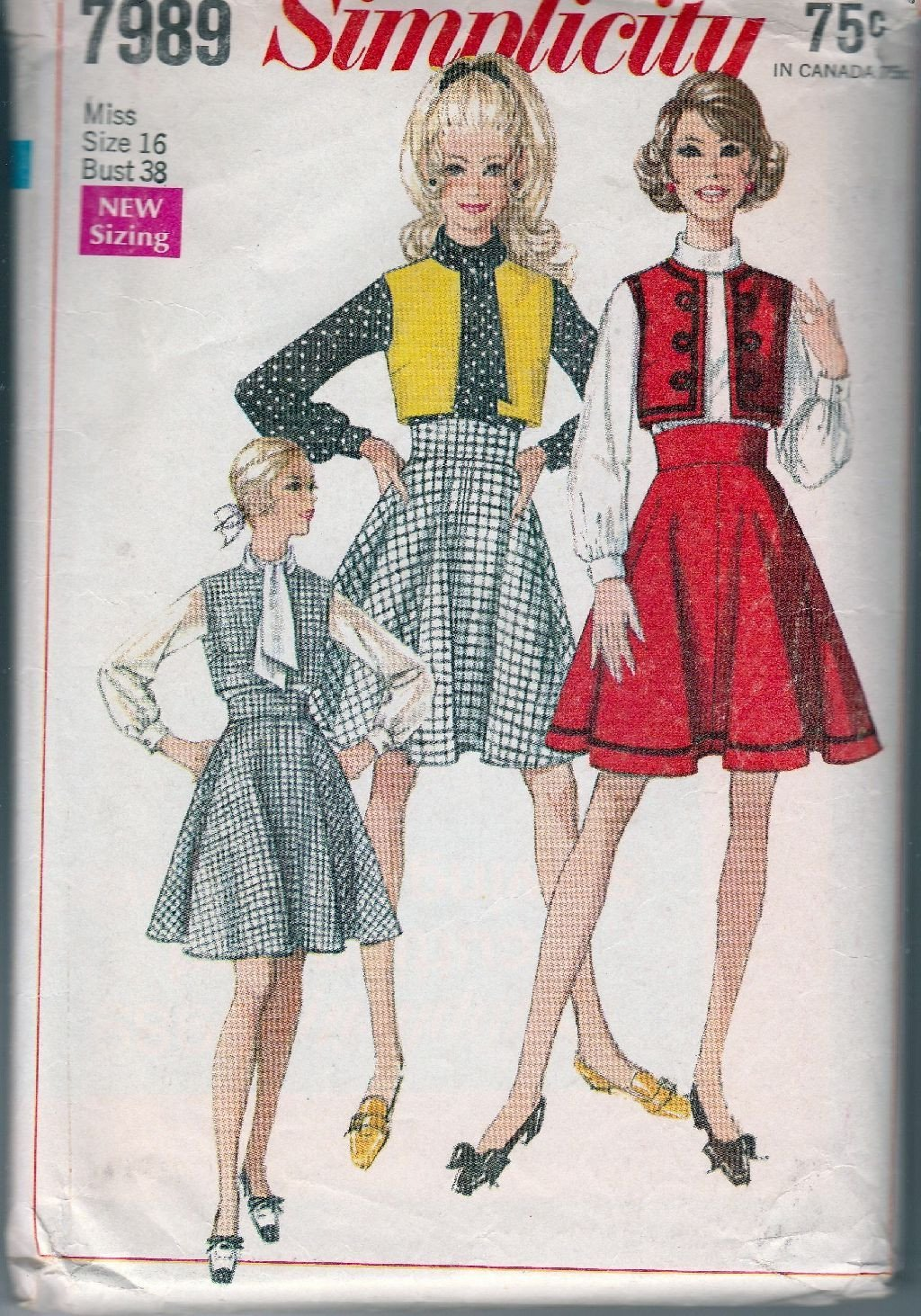 Simplicity 7989 Ladies Bolero Jacket Skirt Blouse Vintage Sewing Pattern 1960's - VintageStitching - Vintage Sewing Patterns