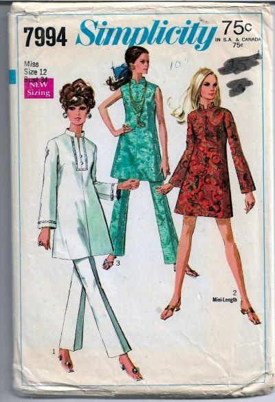 Simplicity 7994 Vintage Sewing Pattern 1960s Ladies Mini Dress Bell Bottom Pants - VintageStitching - Vintage Sewing Patterns