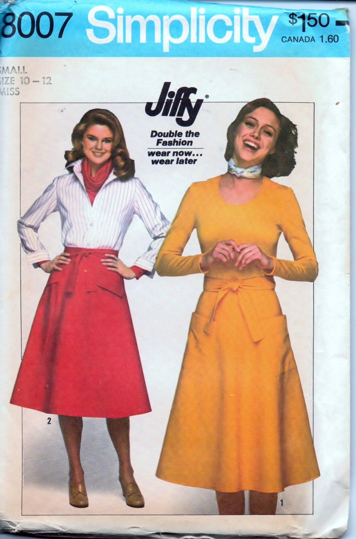 Simplicity 8007 Ladies Wrap Skirt Jiffy Vintage 1970's Sewing Pattern - VintageStitching - Vintage Sewing Patterns