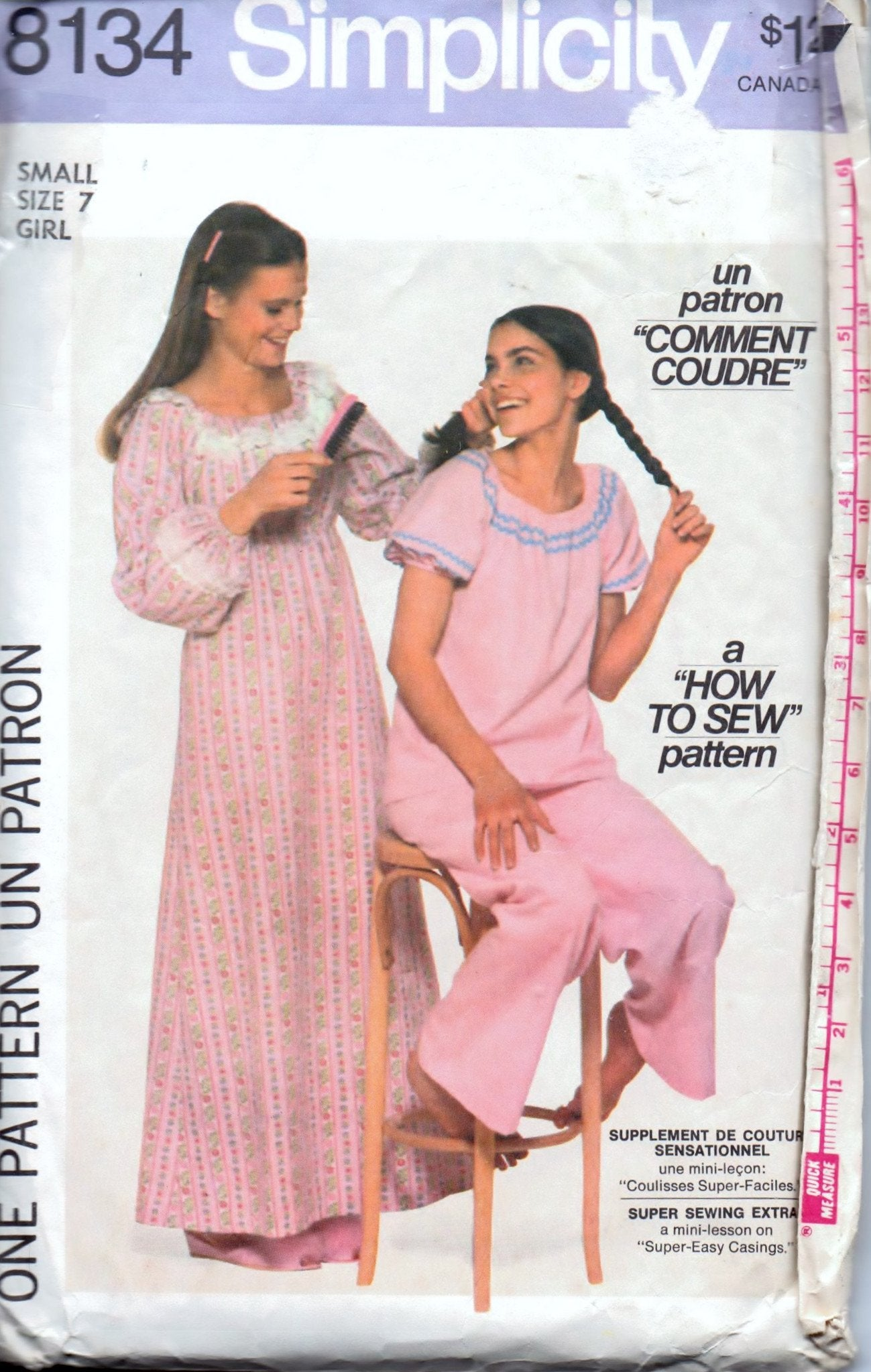 Simplicity 8134 Girls Nightgown Pajamas PJ's Vintage 1970's Sewing Pattern - VintageStitching - Vintage Sewing Patterns
