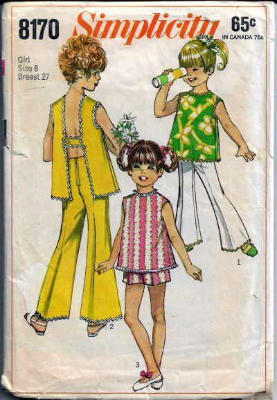 Simplicity 8170 Vintage Sewing Pattern 1960s Girls Bell Bottom Pants Shorts Top - VintageStitching - Vintage Sewing Patterns
