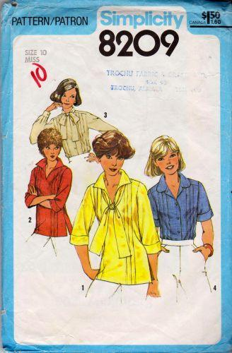 Simplicity 8209 Ladies Blouse Pullover Top Vintage Sewing Pattern - VintageStitching - Vintage Sewing Patterns