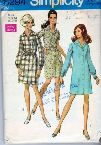 Simplicity 8294 Misses Shirtwaist Dress Vintage 1960's Pattern - VintageStitching - Vintage Sewing Patterns