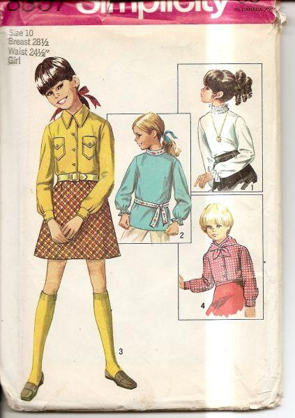 Simplicity 8307 Vintage 60's Sewing Pattern Girls Shirt & Blouses - VintageStitching - Vintage Sewing Patterns