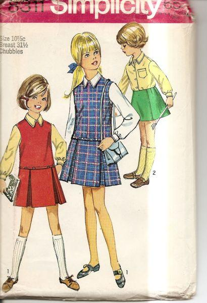 Simplicity 8311 'Vintage 1960's Sewing Pattern Chubbie Girls Jumper - VintageStitching - Vintage Sewing Patterns