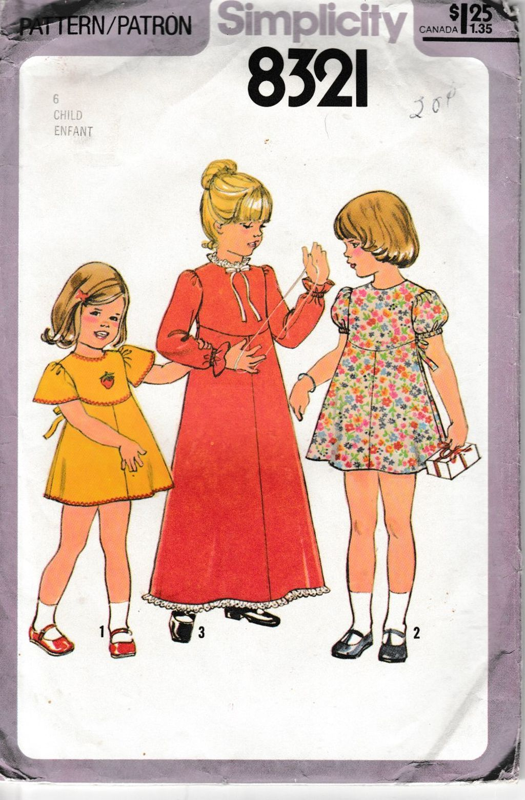 Simplicity 8321 Girls Child Dress Pattern Mini Maxi Length Vintage 1970's Sewing Pattern - VintageStitching - Vintage Sewing Patterns