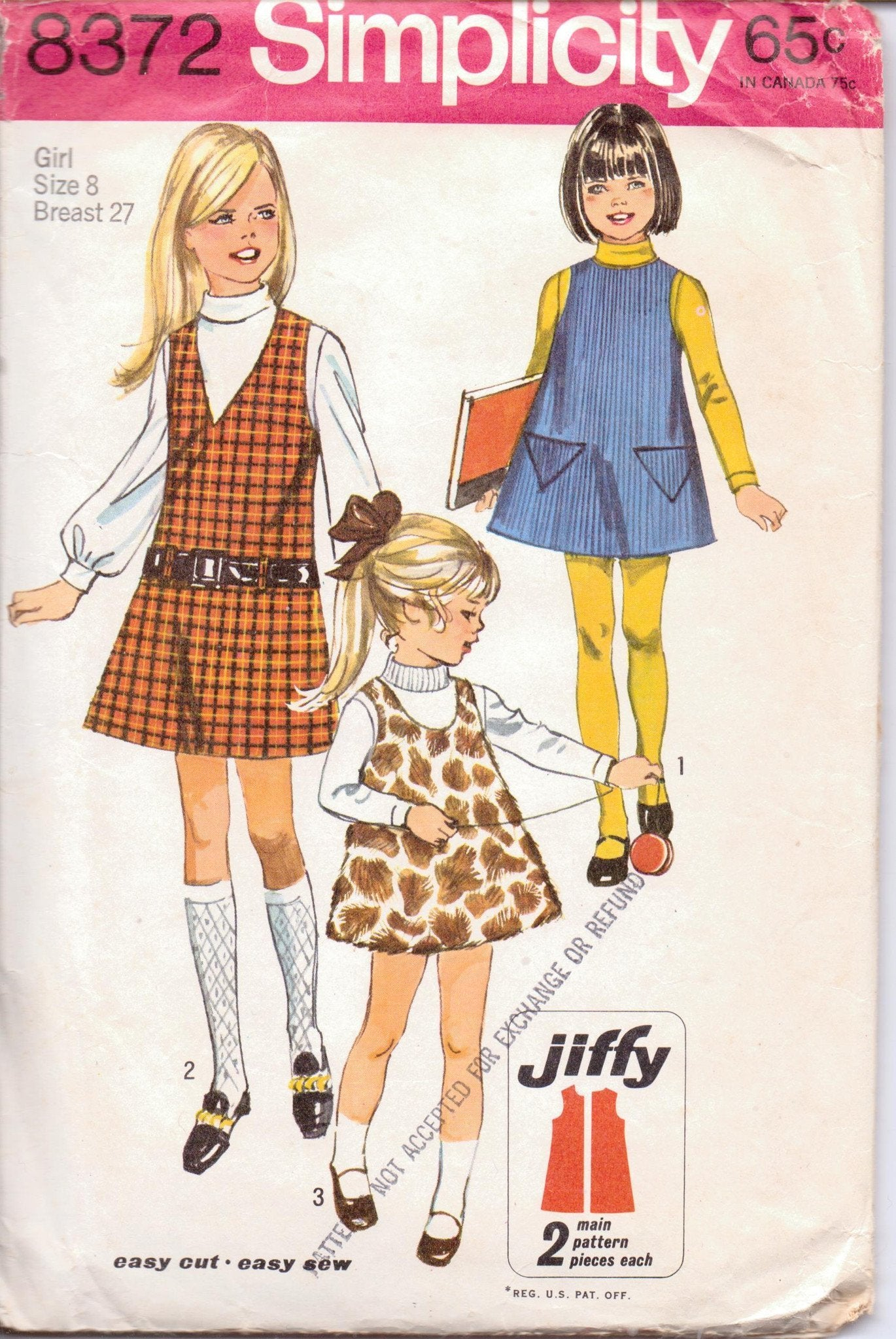 Simplicity 8372 Little Girls Jumper Dress Vintage 1960's Sewing Pattern Jiffy Size 8 Breast 27 - VintageStitching - Vintage Sewing Patterns