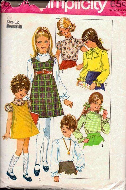 Simplicity 8374 Vintage 1960's Sewing Pattern Girls Jumper Dress Puff Sleeve Blouse - VintageStitching - Vintage Sewing Patterns