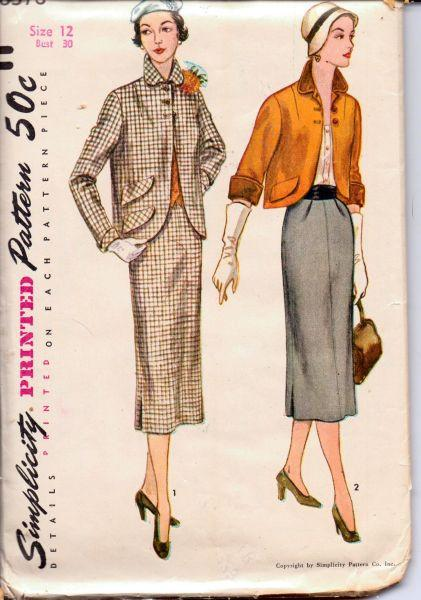Simplicity 8378 Vintage 1950's Sewing Pattern Ladies Suit Jacket and Wiggle Skirt Soft Pleats - VintageStitching - Vintage Sewing Patterns