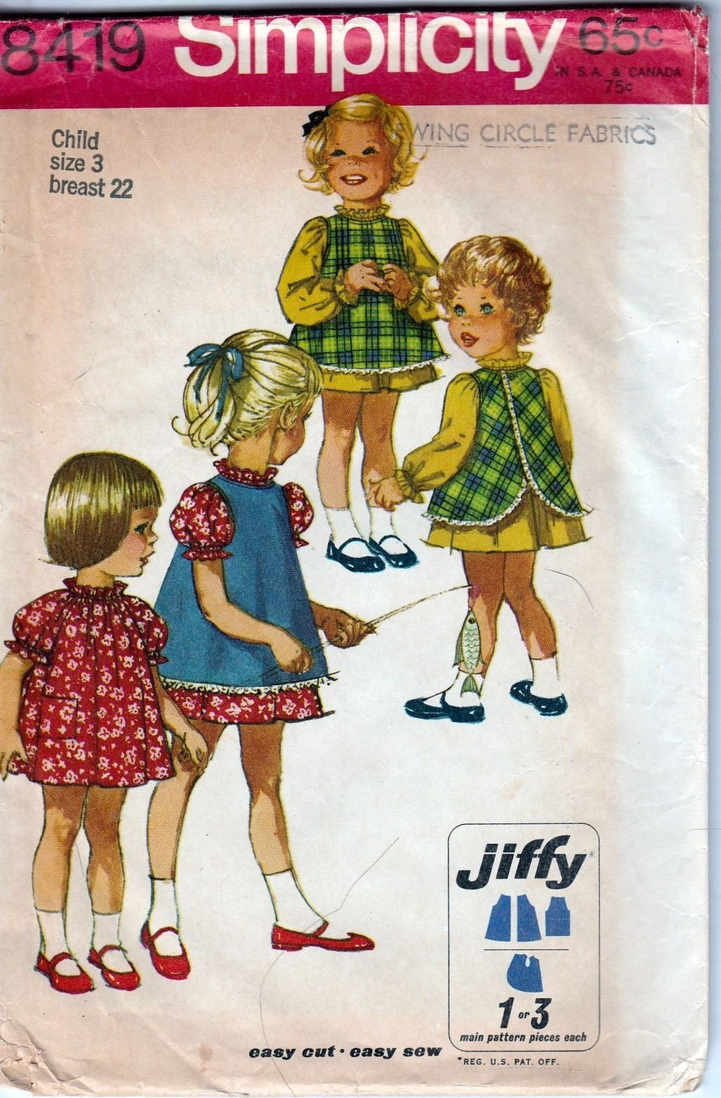 Simplicity 8419 Vintage 60's Sewing Pattern Little Girls Toddler Jewel Neck Dress Pinafore - VintageStitching - Vintage Sewing Patterns
