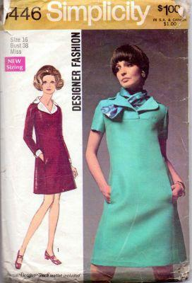 Simplicity 8446 Ladies Shift Dress Vintage 1960's Sewing Pattern - VintageStitching - Vintage Sewing Patterns