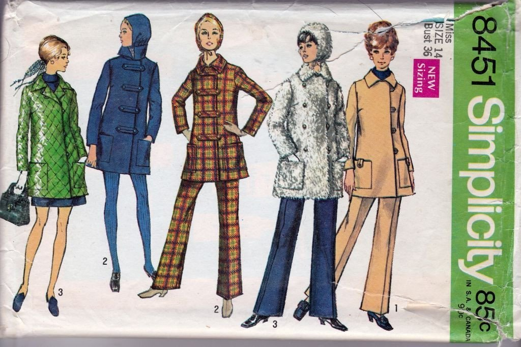 Simplicity 8451 Vintage 1960's Sewing Pattern Ladies Double Breasted Coat Pants Hat - VintageStitching - Vintage Sewing Patterns