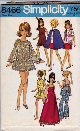Simplicity 8466 Barbie Doll Clothes Wardrobe Vintage Pattern - VintageStitching - Vintage Sewing Patterns