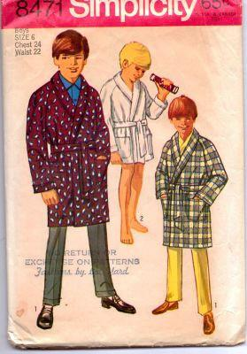 Simplicity 8471 Boys Long or Short Bath Robe Vintage Sewing Pattern - VintageStitching - Vintage Sewing Patterns