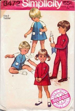 Simplicity 8472 Toddlers Dress Jumpsuit Vintage 1960's Sewing Pattern - VintageStitching - Vintage Sewing Patterns