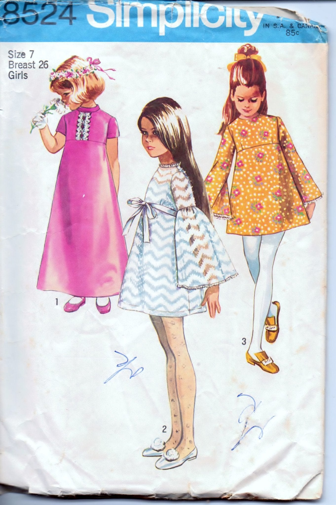 Simplicity 8524 Girls' Dress Short or Long Vintage 1960's Sewing Pattern - VintageStitching - Vintage Sewing Patterns