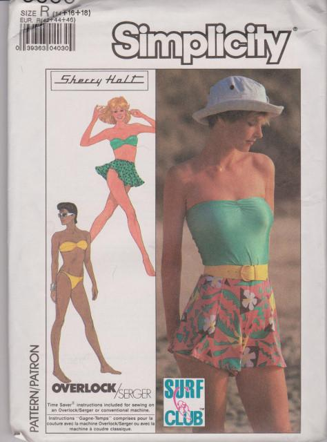Simplicity 8558 Ladies Bikini Shorts Skirt Vintage 1980's Pattern Swim - VintageStitching - Vintage Sewing Patterns