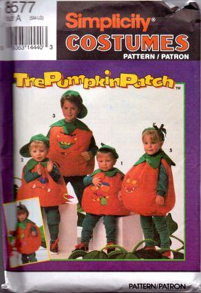 Simplicity 8577 The Pumpkin Patch Jack-O-Lantern Halloween Costume Pattern - VintageStitching - Vintage Sewing Patterns
