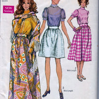 Simplicity 8699 Vintage 70's Sewing Pattern  Ladies Mini Maxi Skirt Blouse Shawl - VintageStitching - Vintage Sewing Patterns