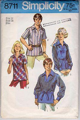 Simplicity 8711 Mens or Misses Long Short Sleeve Top Stitched Shirt Vintage Pattern - VintageStitching - Vintage Sewing Patterns