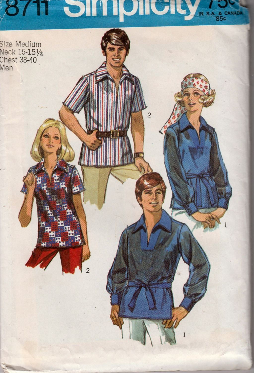 Simplicity 8711 Mens' Shirt Blouse Vintage 1970's Sewing Pattern - VintageStitching - Vintage Sewing Patterns