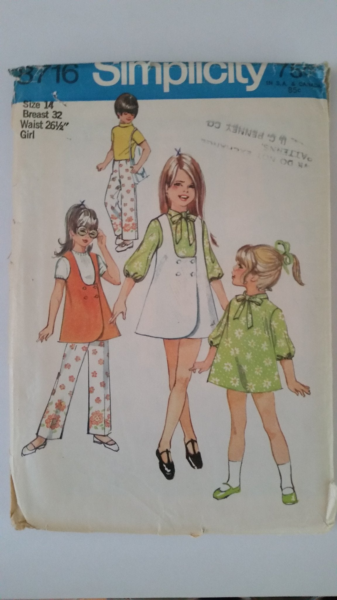 Simplicity 8716 Vintage Sewing Pattern Girls Jumper Tunic Dress Pants - VintageStitching - Vintage Sewing Patterns