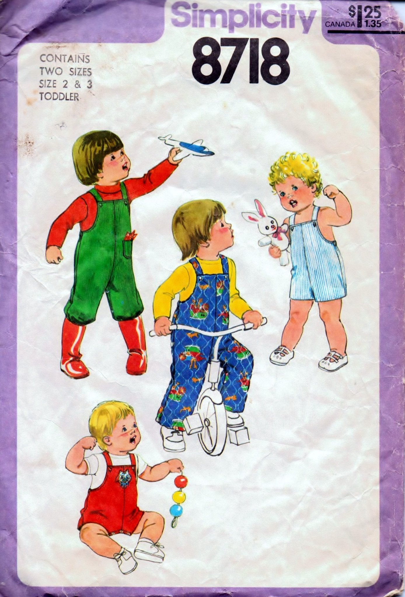 Simplicity 8718 Children Toddlers' Overalls Romper Vintage 1970's Sewing Pattern - VintageStitching - Vintage Sewing Patterns