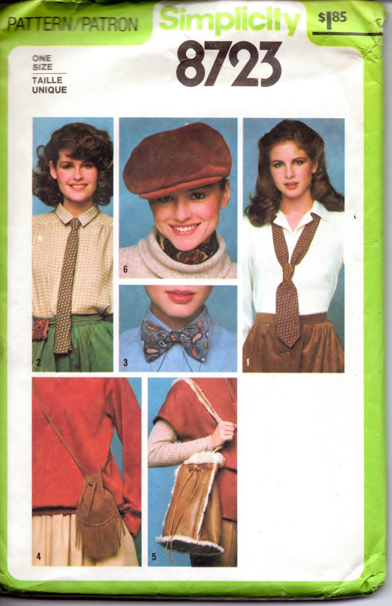 Simplicity 8723 Ladies Accessories Ties Purses Hat Bow Tie Vintage 1970's Sewing Pattern - VintageStitching - Vintage Sewing Patterns