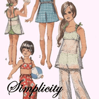 Simplicity 8813 Girls Bathing Suit Bell Bottom Pants Vintage Pattern Swim - VintageStitching - Vintage Sewing Patterns