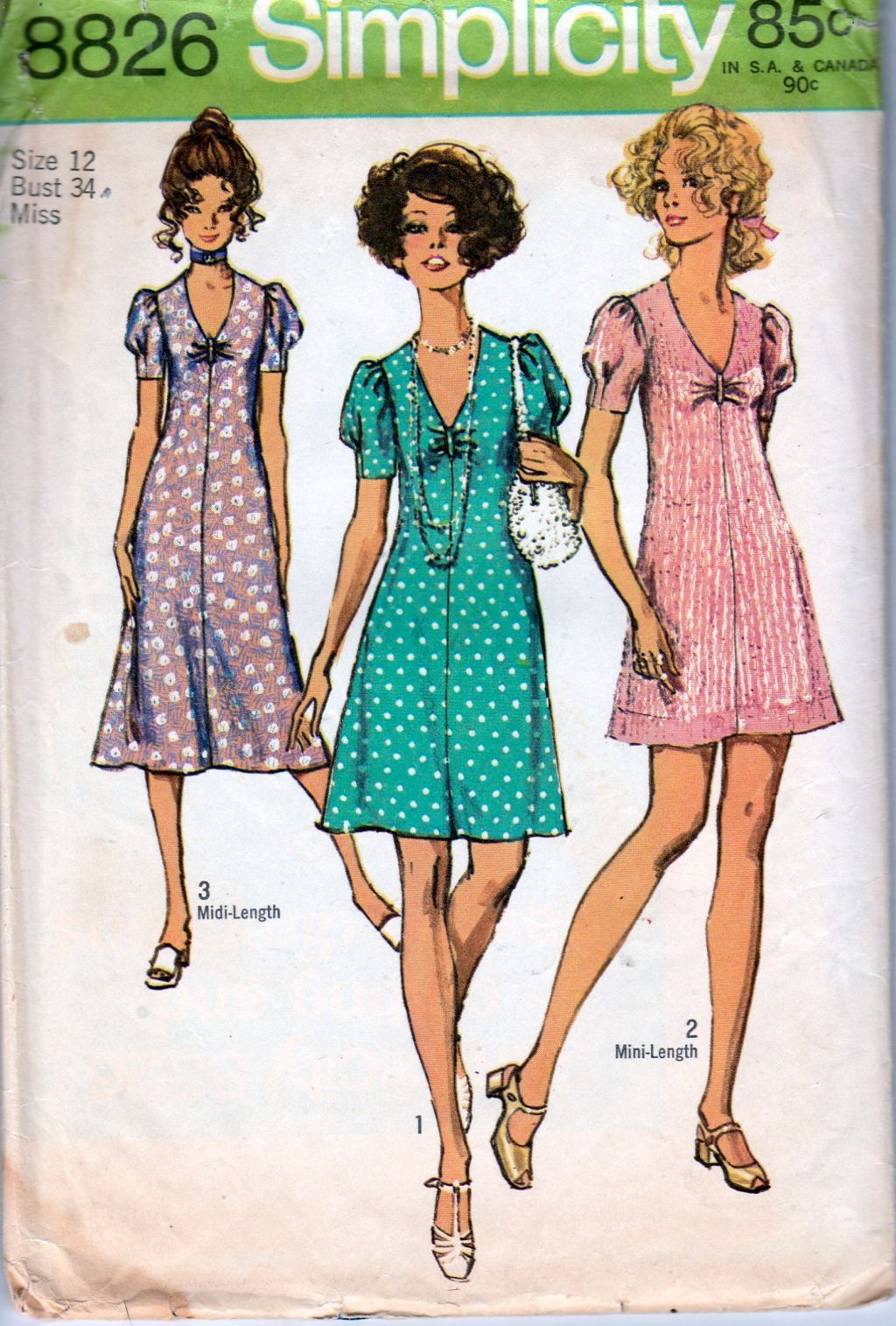 Simplicity 8826 Ladies Mini Midi Dress Vintage Sewing Pattern 1970's - VintageStitching - Vintage Sewing Patterns