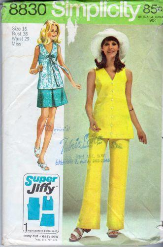 Simplicity 8830 Ladies Mini Skirt Blouse Pants Vintage Sewing Pattern - VintageStitching - Vintage Sewing Patterns